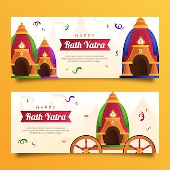 Conjunto de banners gradiente rath yatra