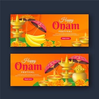 Conjunto de banners gradientes onam