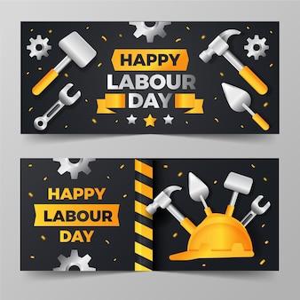 Conjunto de banners gradientes para o dia do trabalho