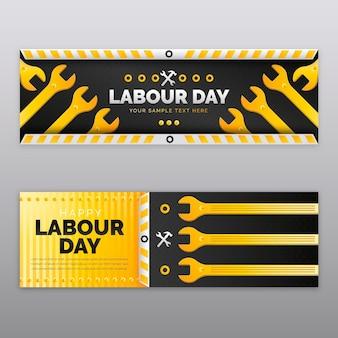 Conjunto de banners gradientes para o dia do trabalho Vetor Premium