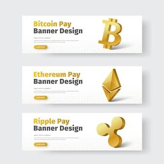 Conjunto de banners horizontais brancos com ícone 3d dourado de ondulação, bitcoin e ethereum.