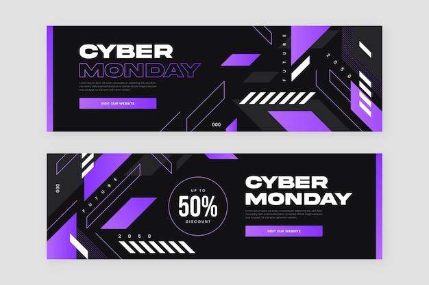 Conjunto de banners horizontais cibernéticos e futurísticos de segunda-feira