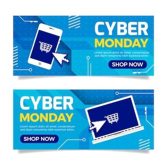 Conjunto de banners horizontais cibernéticos e horizontais de segunda-feira