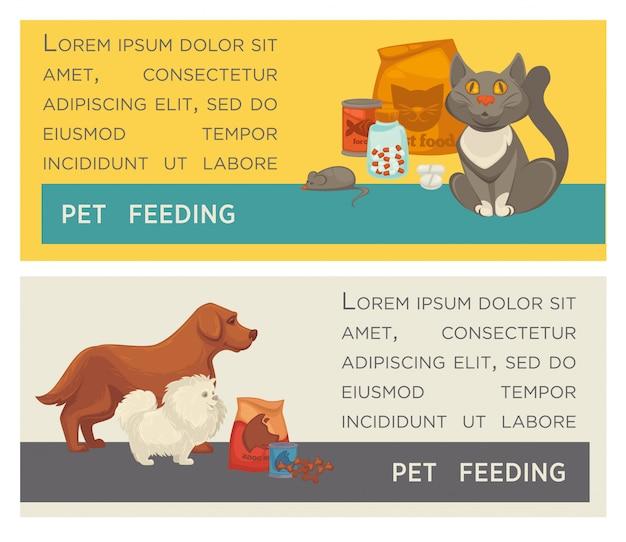 Conjunto de banners horizontais. clínica de cuidado de animais domésticos