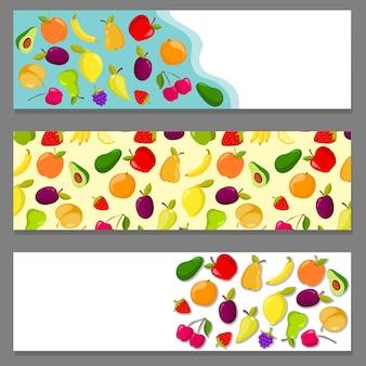 Conjunto de banners horizontais com frutas