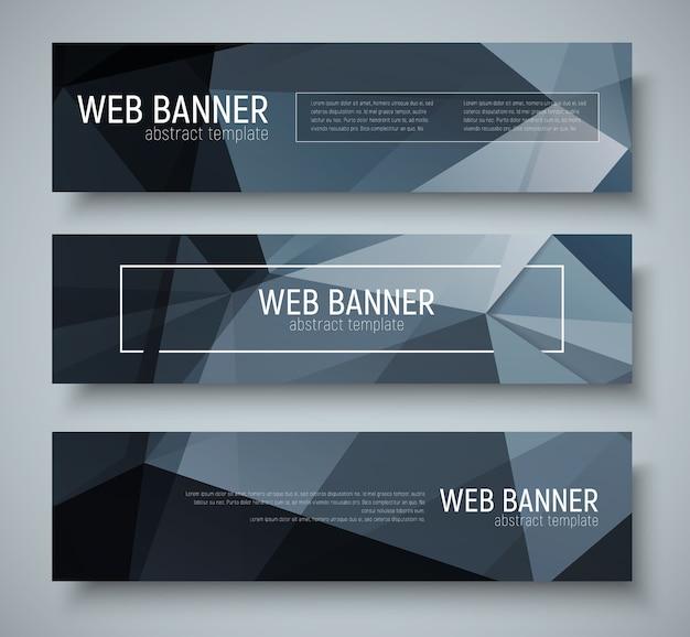 Conjunto de banners horizontais com textura poligonal preta abstrata. texto e molduras do modelo.