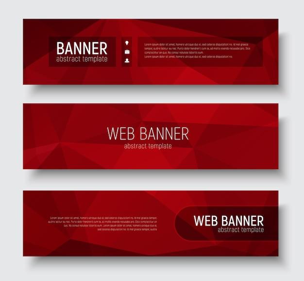 Conjunto de banners horizontais com textura poligonal vermelha abstrata. elementos e texto de design transparente do modelo.