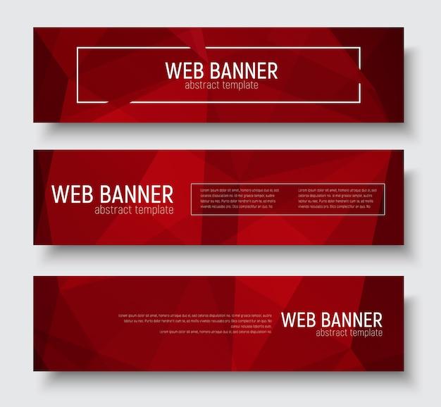 Conjunto de banners horizontais com textura poligonal vermelha abstrata. quadro de modelo para texto.