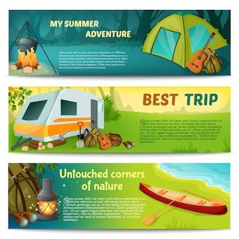 Conjunto de banners horizontais de acampamento