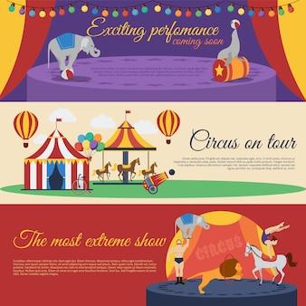 Conjunto de banners horizontais de anúncios de circo