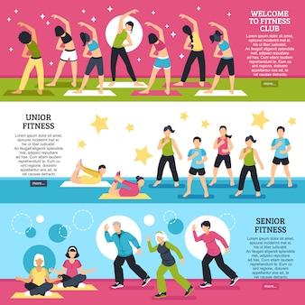 Conjunto de banners horizontais de aulas de fitness