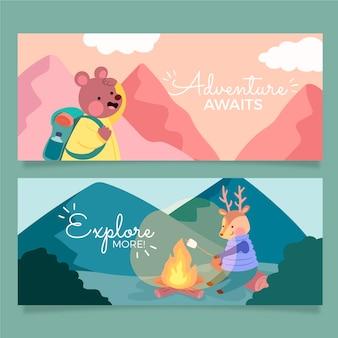 Conjunto de banners horizontais de aventura desenhada à mão