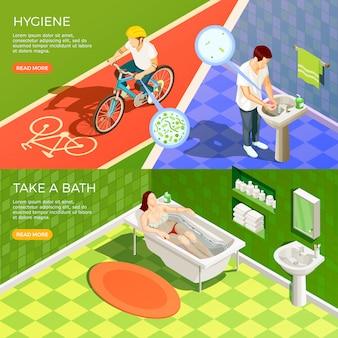 Conjunto de banners horizontais de banheiro
