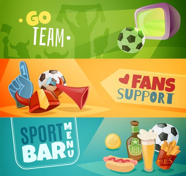 Conjunto de banners horizontais de barra de esporte