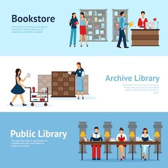Conjunto de banners horizontais de biblioteca