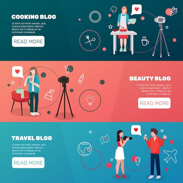 Conjunto de banners horizontais de blogueiros