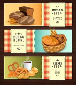 Conjunto de banners horizontais de casa de pão