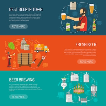 Conjunto de banners horizontais de cervejaria