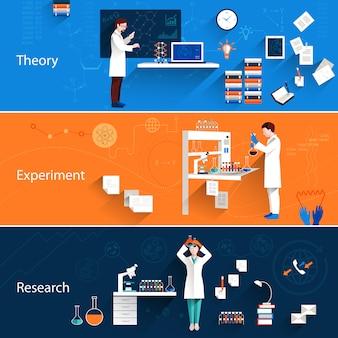 Conjunto de banners horizontais de ciência