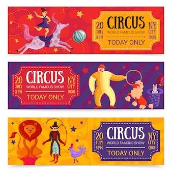 Conjunto de banners horizontais de circo