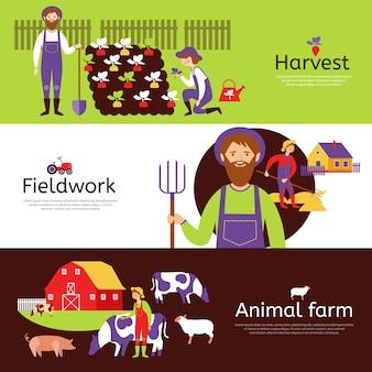 Conjunto de banners horizontais de colheita de agricultores