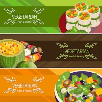 Conjunto de banners horizontais de comida vegetariana