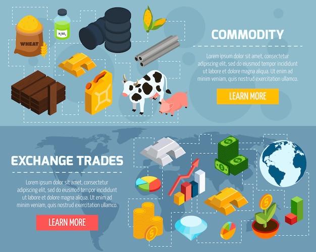 Conjunto de banners horizontais de commodities