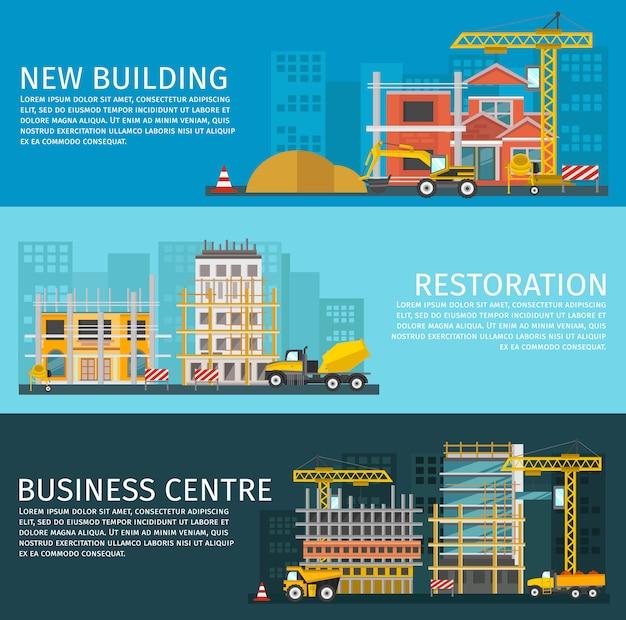 Conjunto de banners horizontais de construção