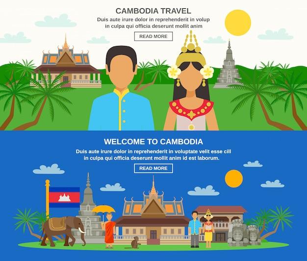 Conjunto de banners horizontais de cultura cambojana