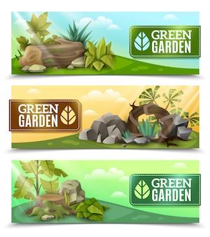 Conjunto de banners horizontais de design de jardim de paisagem