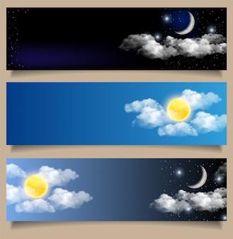 Conjunto de banners horizontais de dia e noite