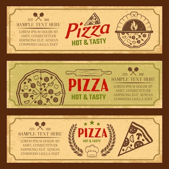Conjunto de banners horizontais de estilo vintage de pizza