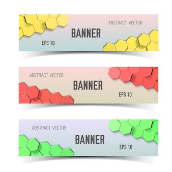 Conjunto de banners horizontais de favos de mel