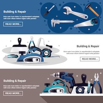 Conjunto de banners horizontais de ferramentas de construção