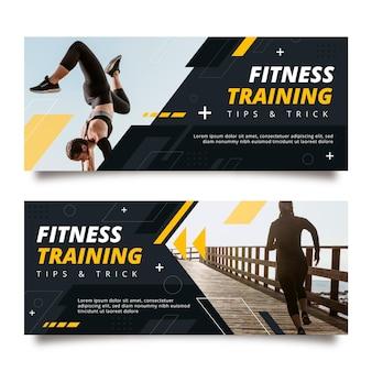 Conjunto de banners horizontais de fitness plano