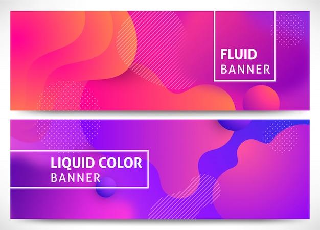 Conjunto de banners horizontais de formas fluidas 3d dinâmicas.