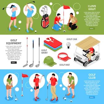 Conjunto de banners horizontais de golfe