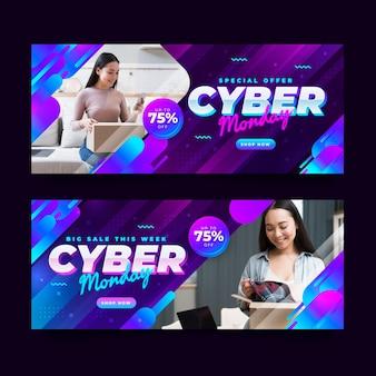 Conjunto de banners horizontais de gradiente cibernético futurista