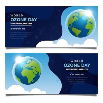 Conjunto de banners horizontais de gradiente do dia mundial do ozônio