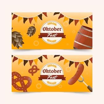 Conjunto de banners horizontais de gradiente oktoberfest