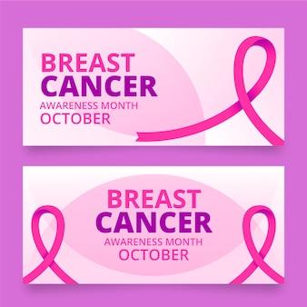 Conjunto de banners horizontais de gradiente para o mês de conscientização do câncer de mama