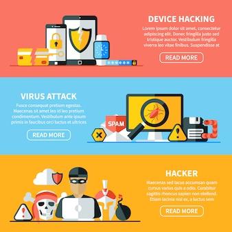 Conjunto de banners horizontais de hacking