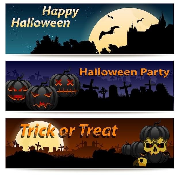 Conjunto de banners horizontais de halloween. abóbora, cemitério e outros