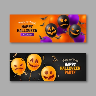 Conjunto de banners horizontais de halloween realista