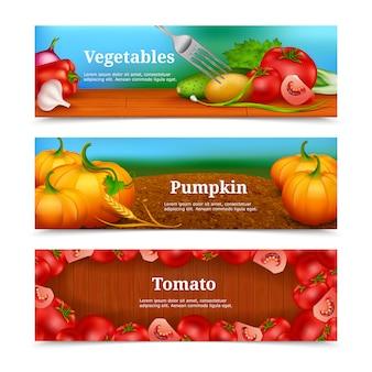 Conjunto de banners horizontais de legumes