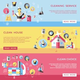 Conjunto de banners horizontais de limpeza profissional