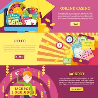 Conjunto de banners horizontais de loteria