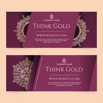 Conjunto de banners horizontais de luxo dourado gradiente