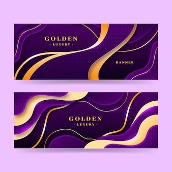 Conjunto de banners horizontais de luxo dourado realista