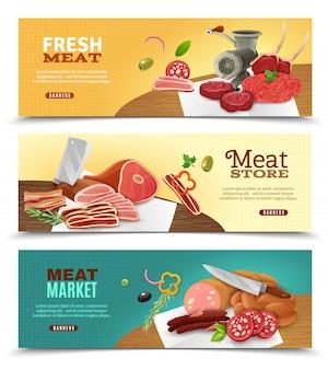 Conjunto de banners horizontais de mercado de carne